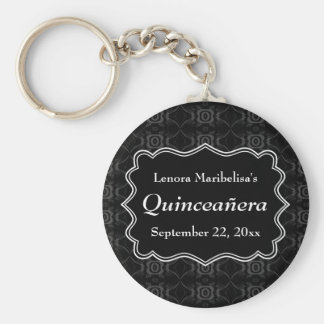 Black, White and Dark Gray Floral Quinceanera Key Chain