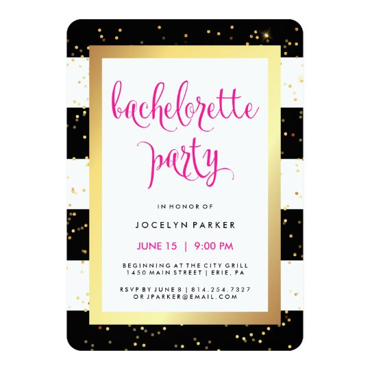 Black White and Faux Gold Bachelorette Party Card