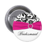 Black, White, and Fuchsia Damask Bridesmaid Pin