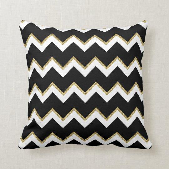 Black, White and Gold Chevron Pillow