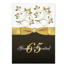 Black, White, and Gold Floral 65th Birthday Invite