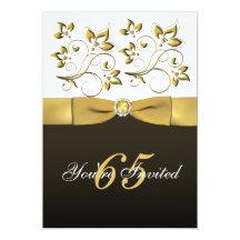 Black, White, and Gold Floral 65th Birthday Invite 13cm X 18cm Invitation Card
