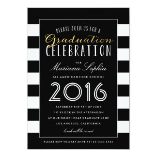 Black White and Gold Graduation Party Invitation