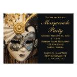 Black White and Gold Masquerade Party Invitations