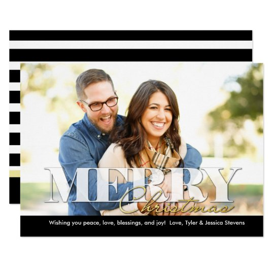 Black White and Gold Merry Christmas Photo Card