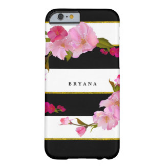 Black White and Gold Modern Floral Chic Glam Barely There iPhone 6 Case