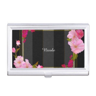 Black White and Gold Modern Floral Chic Glamour Business Card Holders