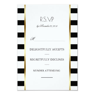 Black White and Gold Stripes Wedding Rsvp Card