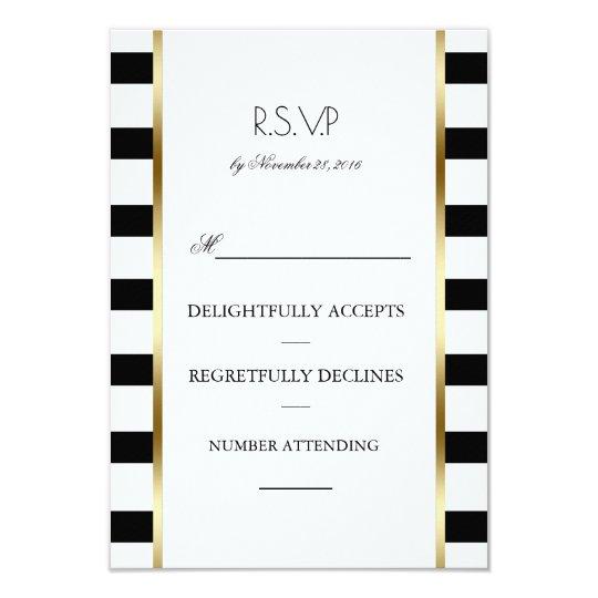 Black White and Gold Stripes Wedding Rsvp Card