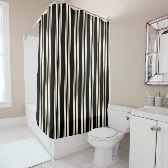 Black White And Gold Vertical Stripes Shower Curtain