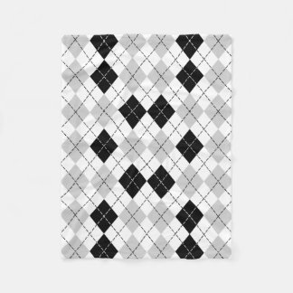 Black White and Gray Argyle Fleece Blanket