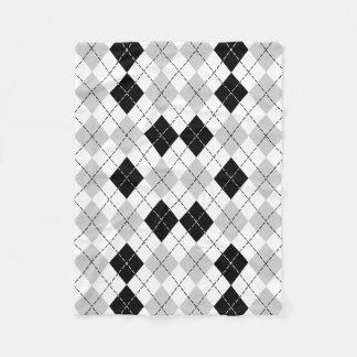 Black White and Gray Argyle Fleece Blanket
