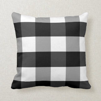 Black, White and Gray Checked Gingham Accent Cushion