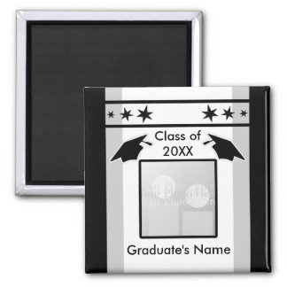 Black, White and Gray Graduation (photo frame) Square Magnet