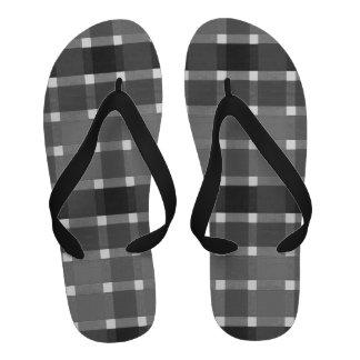 Black, white and gray plaid flip flops