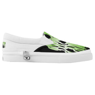 Black, White, and Green Printed Shoes