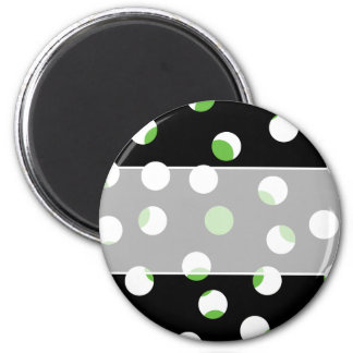 Black White and Green Spotty Pattern Refrigerator Magnet