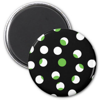 Black White and Green Spotty Pattern Refrigerator Magnets