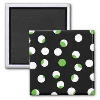 Black White and Green Spotty Pattern Fridge Magnets
