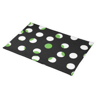 Black, White and Green Spotty Pattern. Placemat