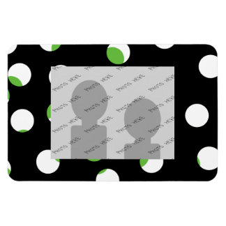 Black White and Green Spotty Pattern Rectangle Magnet