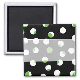 Black, White and Green Spotty Pattern. Square Magnet