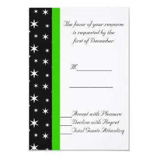 Black, White, and Green Stars Wedding RSVP Card 9 Cm X 13 Cm Invitation Card