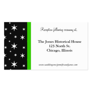 Black, White, and Green Wedding Enclosure Cards Pack Of Standard Business Cards