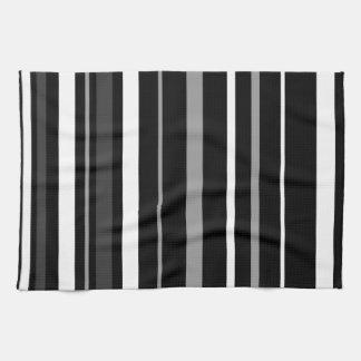 Black, white and grey stripes. tea towel