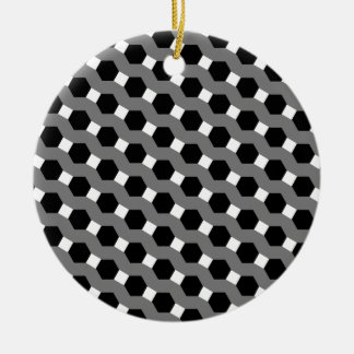 Black, White and Grey Tessellation Pattern Christmas Tree Ornament