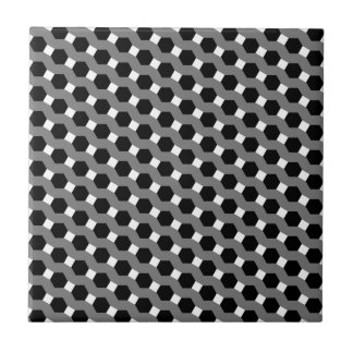 Black, White and Grey Tessellation Pattern Tile