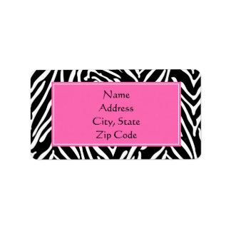 Black, White and Hot Pink Zebra Print Address Label