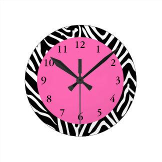 Black, White and Hot Pink Zebra Print Round Clock