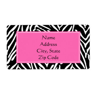 Black, White and Hot Pink Zebra Print Shipping Label