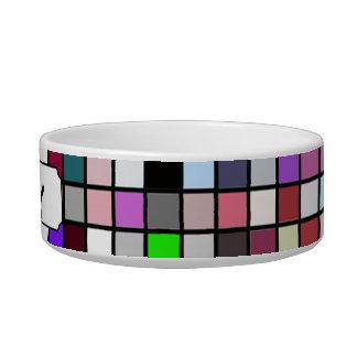 Black White And Jewel Tones Squares Pattern Pet Bowl