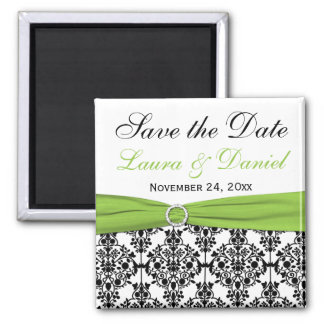 Black, White, and Lime Damask Save the Date Magnet