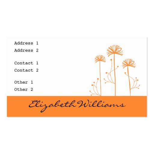 Black, White and Orange Floral Business Card Templates