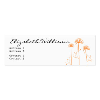 Black, White and Orange Floral Pack Of Skinny Business Cards