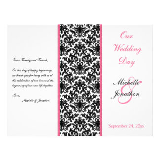 Black, White, and Pink Damask Wedding Program Personalized Flyer
