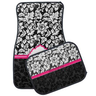 Black White And Pink Vintage Damasks Car Mat