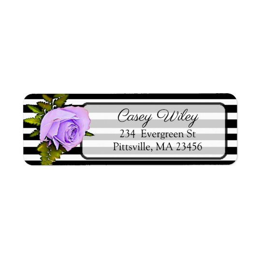 Black, White and Purple Rose Address Label