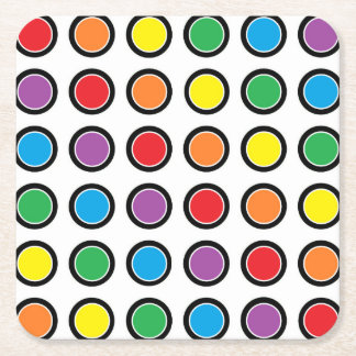 Black, White and Rainbow Polka Dots Square Paper Coaster