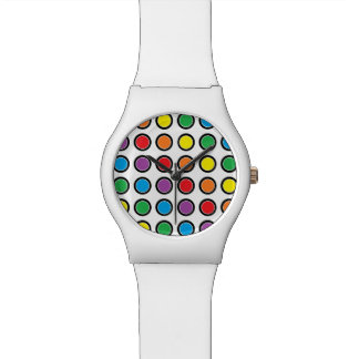 Black, White and Rainbow Polka Dots Watch