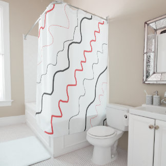 Black, White and Red Abstract Shower Curtain