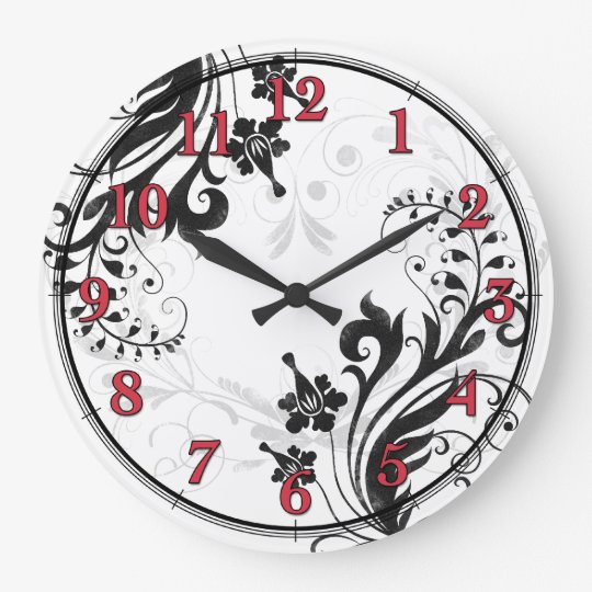Black, White, and Red Asian Floral Wall Clock
