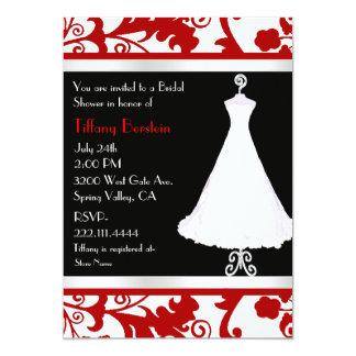 Black, White, and Red Bridal Shower 13 Cm X 18 Cm Invitation Card