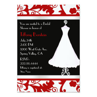 "Black, White, and Red Bridal Shower 5"" X 7"" Invitation Card"