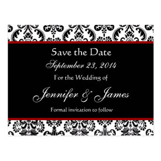 Black White and Red Damask Save Date Postcard