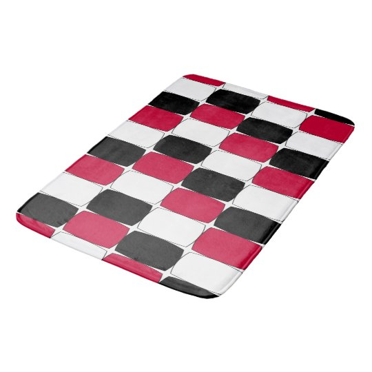 Black, White and Red Fish Eye Bath Mat