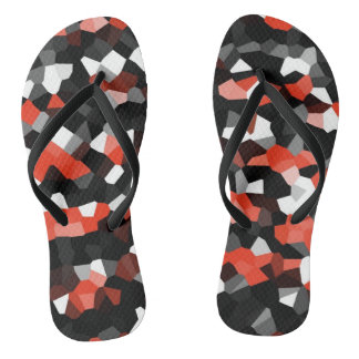 Black, White and Red Fractals Flip Flops